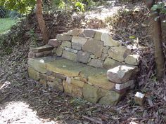 Sandstone seat by Alex Forbes at Wombarra Sculpture Garden