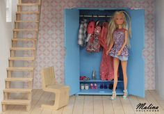 "Polubienia: 18, komentarze: 2 – Malina Dollhouse (@malina_dollhouse) na Instagramie: ""Blue wardrobe for Barbie dolls. You can hang all your Barbie dresses and store little shoes inside.…"""
