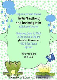 Baby shower invitationfrog baby shower raindrops  by OldOwlPress