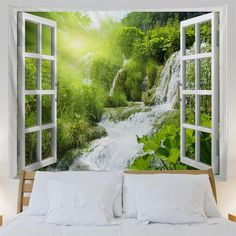 Coconut Trees Over Window Printing Home Wall Hanging Tapestry for Decoration - multicolor A Landscape Materials, Landscape Prints, Cheap Wall Tapestries, Tapestry Wall Hanging, 3d Printing Service, 3d Artist, Landscape Pictures, 3d Wall, Apartment Living