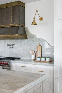 Black and Gold Vintage Style French Range Hood - Transitional - Kitchen Kitchen Hoods, Kitchen Backsplash, New Kitchen, Kitchen Walls, Kitchen Ideas, Backsplash Design, Kitchen Reno, Modern Farmhouse Kitchens, Home Kitchens