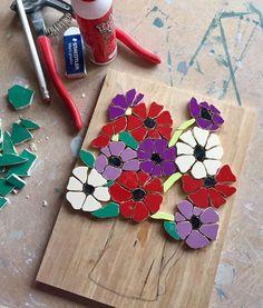 On my studio table today - mosaic anemones Fx