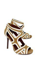 Tory Burch Brown Suede Cutout Heels Tan/White Sandals