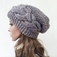 Hand knit hat Oversized Chunky Wool Hat slouchy hat grey cable hat - Clarice Thomas Scott - Image Sharing World Crochet Beanie Pattern, Mittens Pattern, Knit Crochet, Crochet Hats, Wooly Hats, Knitted Hats, Weaving Patterns, Knitting Patterns, Laine Chunky