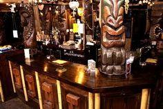 South London Pacific - a nod to Tiki culture Vintage London, Vintage Bar, Tiki Bar Decor, South London, Liquor Cabinet, Storage, Inspiration, Furniture, Design Ideas