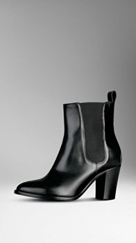 Polished Leather Ankle Boots | Burberry