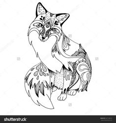 stock-vector-abstract-fox-ornate-isolated-vector-illustration-hand-drawn-animal-drawing-347128274.jpg (1500×1600)