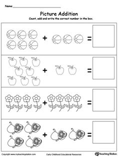 Addition With Pictures: Objects: Learn addition by counting the pictures, this simple yet affective worksheet will help your child develop their beginning math skills.