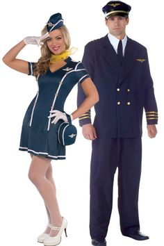 Air Pilot and Sexy Flight Attendant Couples Costumes - Party City Clueless Halloween Costume, Horror Costume, Celebrity Halloween Costumes, Couple Halloween, Halloween 2019, Duo Costumes, Best Couples Costumes, Costume Ideas, Teen Costumes