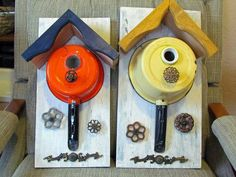 Nancy Carter said, I just wanted to share my birdhouses that I made from a couple of porcelain pans and decorated with old water faucet handles and other fun stuff.