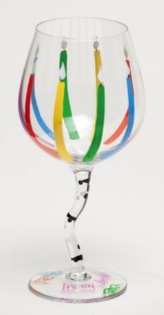 Handpainted Wine Glass Wavy Stem, Candles . $14.99