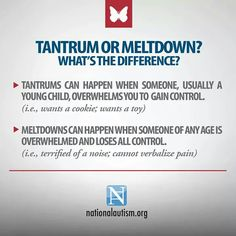 """Meltdowns are not tantrums.  A meltdown is a result of being completely overwhelmed, not """"controlling behavior""""."""