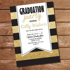 Black and Gold Graduation Invitation Gold by SunshineParties Graduation Celebration, Graduation Party Invitations, Gold Invitations, Graduation Gifts, Graduation Ideas, Graduation Photos, Graduation Announcements, Invitation Ideas, Tea Party Games