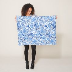 Gorgeous Blue White Floral Paisley Pattern Fleece Blanket - #chic gifts diy elegant gift ideas personalize
