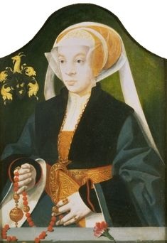 Portrait of a woman holding a pomander on a chain by Barthel Bruyn the Elder. Date ca. 1547