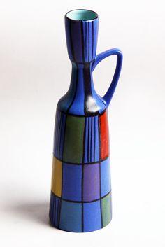 Bodo Mans Vase 'Reims' for Bay 1960 Mid Century Modern Kitchen, Mid Century Modern Decor, Glass Ceramic, Ceramic Art, Ceramic Pitcher, Blue Pottery, Ceramic Pottery, Pottery World, Bennington Pottery