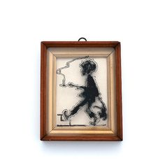 Vintage Framed Silhouette on Glass Boy With by RosaMeyerCollection