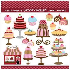 WA124 Cake Shop- Personal and Commercial Use digital clip art - kitchen,diva,baking,cooking,cupcake,cake tower,chic,cake,cafe,boutique,decoration,polkadot,brown,pink,birthday,pie,cherry,blueberry,cake roll,sweets. $4.50, via Etsy.