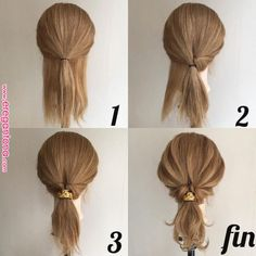 24 Wonderful And Easy Ponytail Hairstyles Tutorials - Bafbouf Ponytail Hairstyles Tutorial, Weave Hairstyles, Pretty Hairstyles, Hairstyles For Medium Length Hair Easy, Easy Formal Hairstyles, Stylish Hairstyles, Hairstyles Videos, Medium Hair Styles, Curly Hair Styles