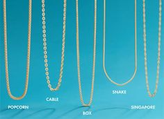 Jewelry Chain Styles for Men and Women : A chain is a strand of interlocking links, rings, discs, or beads, usually composed of metal. Chains come in many styles, like cable, rope, and box. | www.ross-simons.com