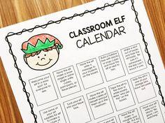 An editable elf calendar and student journal for your classroom elf.