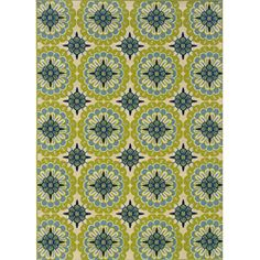 Green and Ivory Outdoor Area Rug (7'10 x 10')