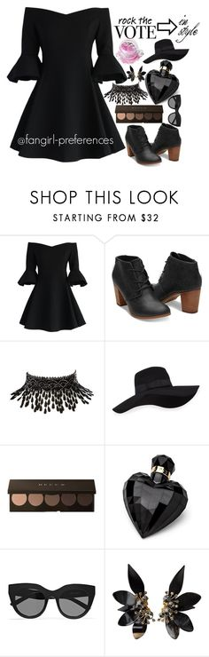 """Rock the vote in style"" by fangirl-preferences ❤ liked on Polyvore featuring Chicwish, TOMS, Amrita Singh, San Diego Hat Co., Lipsy, Le Specs, Marni, In Your Dreams, black and rockthevote"