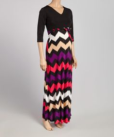 5ce0374c612 Black   Purple Chevron Maternity Maxi Dress - Plus Too