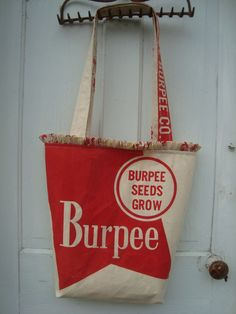 Gussied Up Tote made from vintage Burpee seed sack.  www.ginnymae.etsy.com