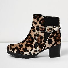 Girls brown animal print ankle boots £15.00