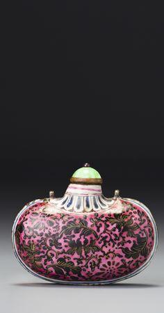 Enameled Copper 'Floral Pouch' Snuff Bottle