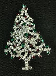 Vintage Weiss Signed Christmas Tree Pin Brooch Rhinestone Red Green Ornaments | eBay