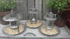 Faux Mercury Glass Bird Feeders out of left over jars, dinnerware, and misc parts - great idea!!