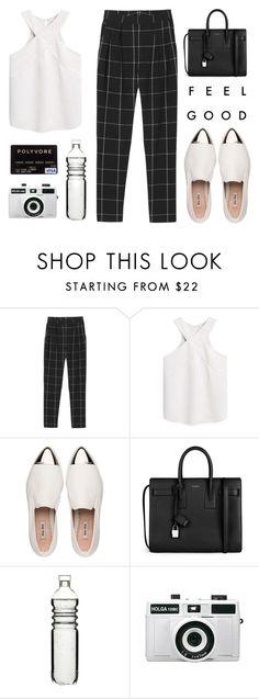 """Shopping Spree"" by alexis-belaruano ❤ liked on Polyvore featuring mode, Monki, MANGO, Miu Miu, Yves Saint Laurent, Sagaform en Holga"