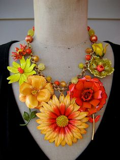 RESERVED Vintage Repurposed Enamel Flower Bib Statement Necklace - Tangerine