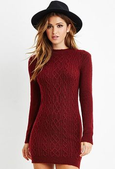 Forever 21: Cable Knit Sweater Dress 2000163215. I love the knotwork on this dress! With leggings, it would be lovely to wear at Christmas.