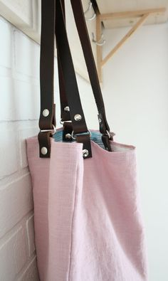 Linen Tote Bag with Leather Handles Pink Linen by Jolicoeuretcie