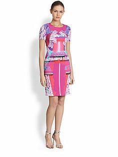 Peter Pilotto Orchid-Print Short-Sleeve Dress