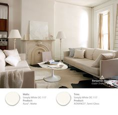 Look at the paint color combination I created with Benjamin Moore. Via Wall: Silver Gray Accent Wall: Simply White Trim: Simply White White Wall Paint, Best White Paint, White Paint Colors, Interior Paint Colors, White Walls, Yellow Interior, Gray Paint, Interior Painting, Wall Colors