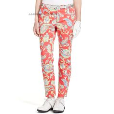 Polo Golf by Ralph Lauren Women's Rose Paisley Stretch Cotton Pant Size 4 $165 #PoloGolfbyRalphLauren #GolfPant