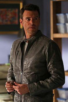 Jake Ballard wearing  John Varvatos Pebbled Leather Moto Jacket