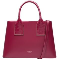 Ted Baker Lolita Leather Tote Bag , Grape (425 RON) ❤ liked on Polyvore featuring bags, handbags, tote bags, grape, leather purses, leather hand bags, leather tote, leather tote purse and leather tote handbags
