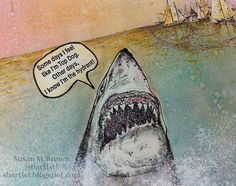 Ringing in SHARK WEEK Susan M. Brown brings you an #art journal page with some super cool #viva las vegastamps #rubber stamps -- all available at vlvstamps.com
