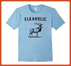 Mens Elkaholic - Funny Elk Hunting Tshirt 3XL Baby Blue - Funny shirts (*Partner-Link)