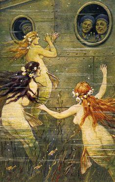 I Sea Stripes: vintage mermaids