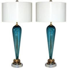 Vintage Murano Lamps of Teal Blue