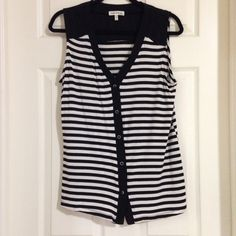 Item: Faith and Joy Black White Striped Top Blouse