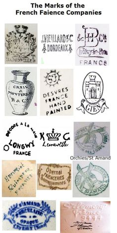 Antique Pottery Marks - France Archive  - a free to access online record