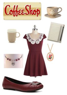 Cute Coffee Shop Work Outfit by denovia on Polyvore featuring polyvore, fashion, style, b.o.c. Børn Concept, Forever 21, Coffee Shop, Bellini Sara and Classic Coffee & Tea by Yedi