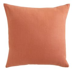 For Bed or Loveseat: European Flax Linen Pillow- Persimmon | Wisteria